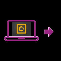Icône ordinateur portable violette